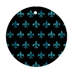 Royal1 Black Marble & Blue Green Water (r) Round Ornament (two Sides) by trendistuff