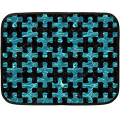 Puzzle1 Black Marble & Blue Green Water Fleece Blanket (mini) by trendistuff