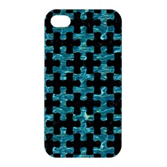 Puzzle1 Black Marble & Blue Green Water Apple Iphone 4/4s Premium Hardshell Case by trendistuff