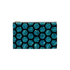 Hexagon2 Black Marble & Blue Green Water (r) Cosmetic Bag (small) by trendistuff
