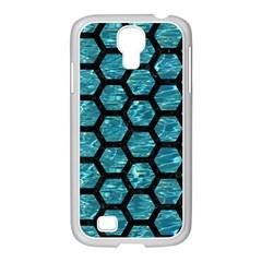 Hexagon2 Black Marble & Blue Green Water (r) Samsung Galaxy S4 I9500/ I9505 Case (white) by trendistuff