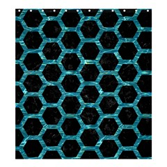 Hexagon2 Black Marble & Blue Green Water Shower Curtain 66  X 72  (large) by trendistuff