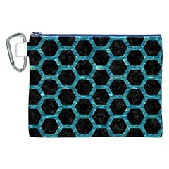 Hexagon2 Black Marble & Blue Green Water Canvas Cosmetic Bag (xxl) by trendistuff
