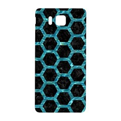 Hexagon2 Black Marble & Blue Green Water Samsung Galaxy Alpha Hardshell Back Case by trendistuff