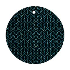Hexagon1 Black Marble & Blue Green Water Round Ornament (two Sides) by trendistuff