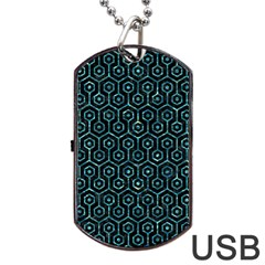 Hexagon1 Black Marble & Blue Green Water Dog Tag Usb Flash (two Sides) by trendistuff