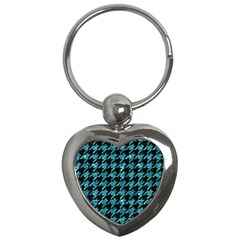 Houndstooth1 Black Marble & Blue Green Water Key Chain (heart) by trendistuff