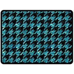 Houndstooth1 Black Marble & Blue Green Water Double Sided Fleece Blanket (large) by trendistuff