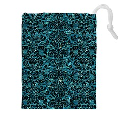 Damask2 Black Marble & Blue Green Water (r) Drawstring Pouch (xxl) by trendistuff
