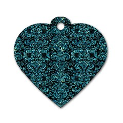 Damask2 Black Marble & Blue Green Water Dog Tag Heart (one Side) by trendistuff