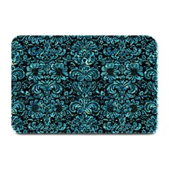 Damask2 Black Marble & Blue Green Water Plate Mat by trendistuff