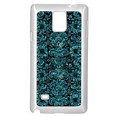 Damask2 Black Marble & Blue Green Water Samsung Galaxy Note 4 Case (white) by trendistuff