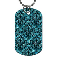 Damask1 Black Marble & Blue Green Water (r) Dog Tag (two Sides) by trendistuff