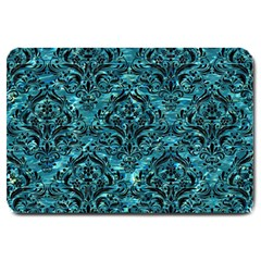Damask1 Black Marble & Blue Green Water (r) Large Doormat by trendistuff