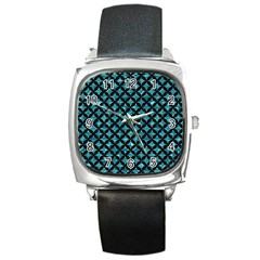 Circles3 Black Marble & Blue Green Water (r) Square Metal Watch by trendistuff
