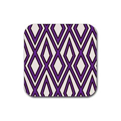 Diamond Key Stripe Purple Chevron Rubber Square Coaster (4 Pack)  by Mariart
