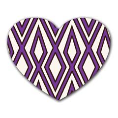 Diamond Key Stripe Purple Chevron Heart Mousepads by Mariart