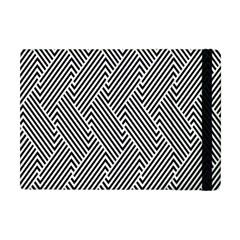 Escher Striped Black And White Plain Vinyl Apple Ipad Mini Flip Case by Mariart