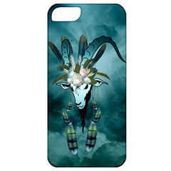 The Billy Goat  Skull With Feathers And Flowers Apple Iphone 5 Classic Hardshell Case by FantasyWorld7