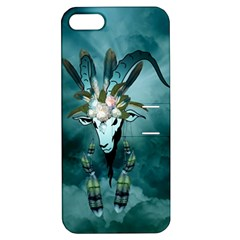The Billy Goat  Skull With Feathers And Flowers Apple Iphone 5 Hardshell Case With Stand by FantasyWorld7