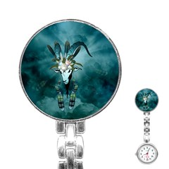 The Billy Goat  Skull With Feathers And Flowers Stainless Steel Nurses Watch by FantasyWorld7