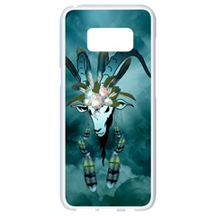 The Billy Goat  Skull With Feathers And Flowers Samsung Galaxy S8 White Seamless Case by FantasyWorld7