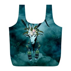 The Billy Goat  Skull With Feathers And Flowers Full Print Recycle Bags (l)  by FantasyWorld7