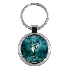 The Billy Goat  Skull With Feathers And Flowers Key Chains (round)  by FantasyWorld7