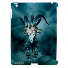 The Billy Goat  Skull With Feathers And Flowers Apple Ipad 3/4 Hardshell Case (compatible With Smart Cover) by FantasyWorld7