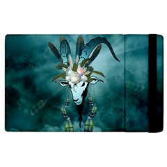 The Billy Goat  Skull With Feathers And Flowers Apple Ipad 3/4 Flip Case by FantasyWorld7