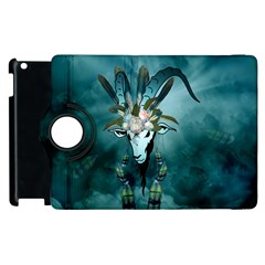 The Billy Goat  Skull With Feathers And Flowers Apple Ipad 3/4 Flip 360 Case by FantasyWorld7