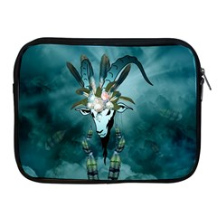 The Billy Goat  Skull With Feathers And Flowers Apple Ipad 2/3/4 Zipper Cases by FantasyWorld7