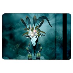 The Billy Goat  Skull With Feathers And Flowers Ipad Air Flip by FantasyWorld7