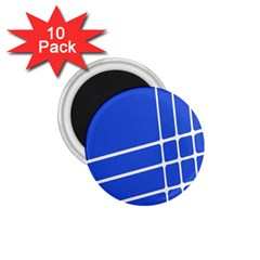 Line Stripes Blue 1 75  Magnets (10 Pack)  by Mariart
