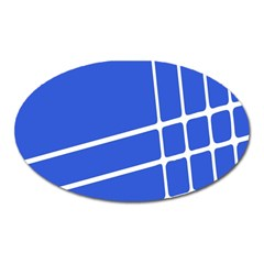 Line Stripes Blue Oval Magnet by Mariart