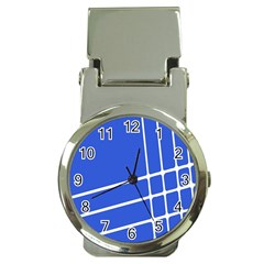 Line Stripes Blue Money Clip Watches by Mariart
