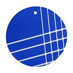 Line Stripes Blue Round Ornament (two Sides) by Mariart