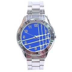 Line Stripes Blue Stainless Steel Analogue Watch by Mariart