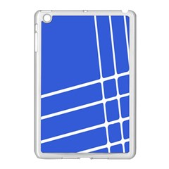 Line Stripes Blue Apple Ipad Mini Case (white) by Mariart