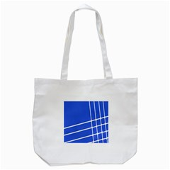 Line Stripes Blue Tote Bag (white) by Mariart