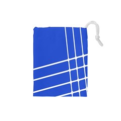 Line Stripes Blue Drawstring Pouches (small)  by Mariart