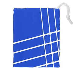 Line Stripes Blue Drawstring Pouches (xxl) by Mariart