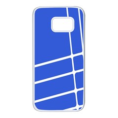 Line Stripes Blue Samsung Galaxy S7 White Seamless Case by Mariart