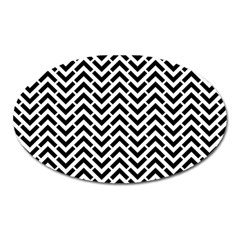 Funky Chevron Stripes Triangles Oval Magnet by Mariart