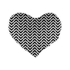 Funky Chevron Stripes Triangles Standard 16  Premium Heart Shape Cushions by Mariart