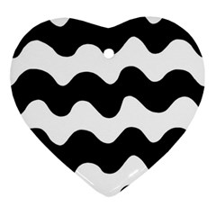 Lokki Cotton White Black Waves Ornament (heart) by Mariart