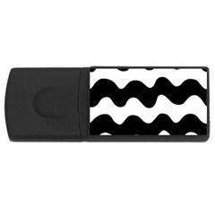 Lokki Cotton White Black Waves Usb Flash Drive Rectangular (4 Gb) by Mariart