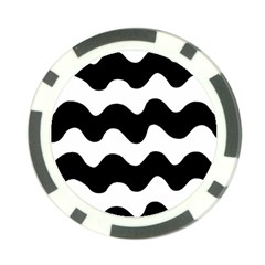 Lokki Cotton White Black Waves Poker Chip Card Guard by Mariart