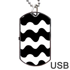 Lokki Cotton White Black Waves Dog Tag Usb Flash (one Side) by Mariart