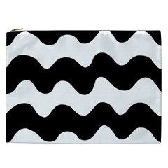 Lokki Cotton White Black Waves Cosmetic Bag (xxl)  by Mariart